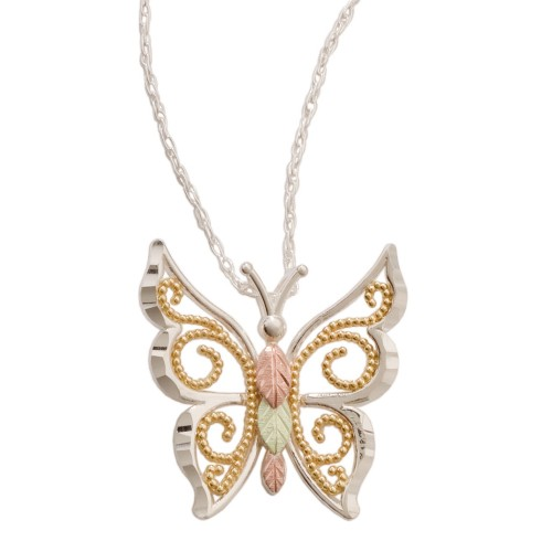 Black Hills Gold Butterfly Pendant in Sterling Sil...