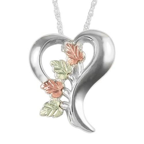 Black Hills Gold on Sterling Silver Heart Pendant - MRC25876-GS