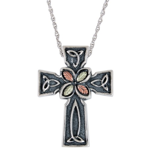 Oxidized Black Hills Gold Cross Pendant in Sterling Silver