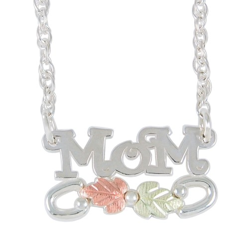 Sterling Silver Black Hills Gold 'Mom' Pendant