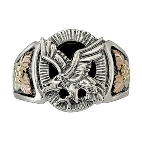 Oxidized Black Hills Silver Mens Eagle Ring with o...