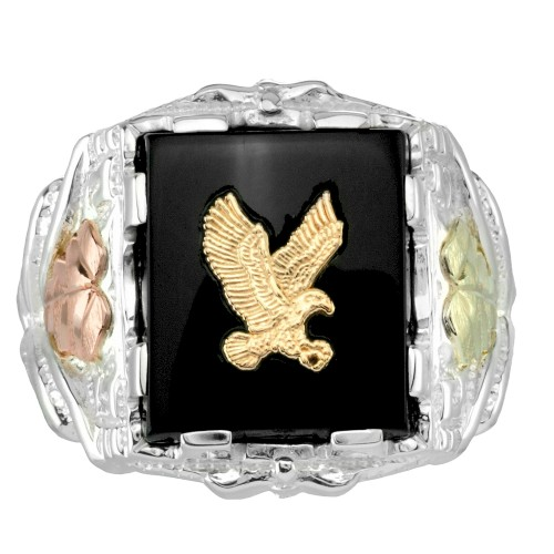 Sterling Silver Men's Black Hills Gold Rectangular...