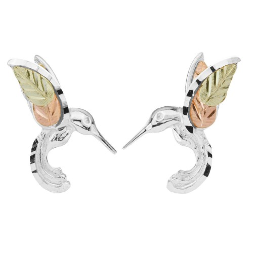 Black Hills Gold on Silver Humming Bird Earrings