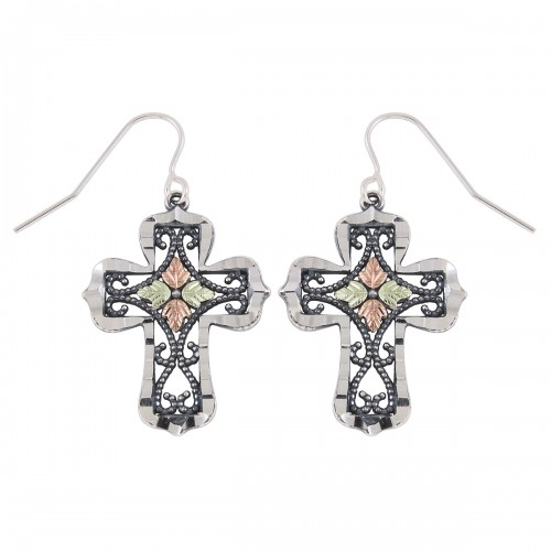 Oxidized Black Hills Silver Cross Earrings