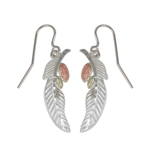 Black Hills Gold Feather Earrings in Sterling Silv...