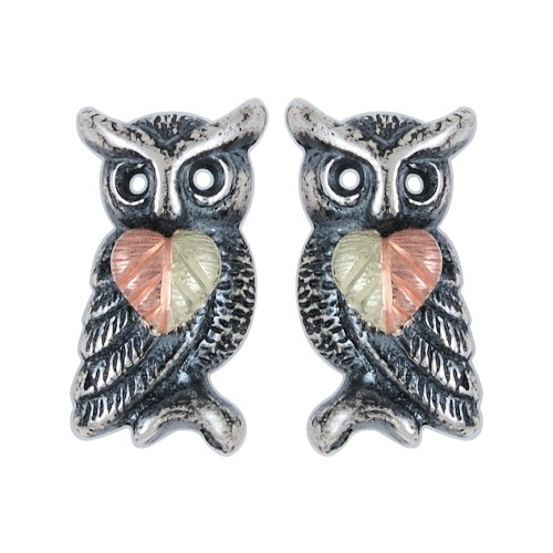 Oxidized Black Hills Silver Owl Earrings