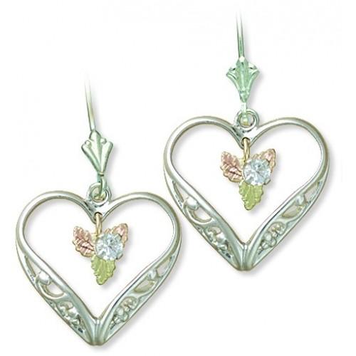 3MM White CZ Heart Shaped Black Hills Silver Dangle Leverback Earrings