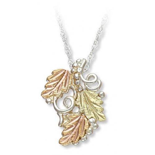 Three Leaf Black Hills Silver Pendant Necklace wit...