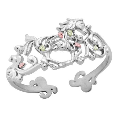 Galloping Horse Black Hills Silver Cuff Bracelet