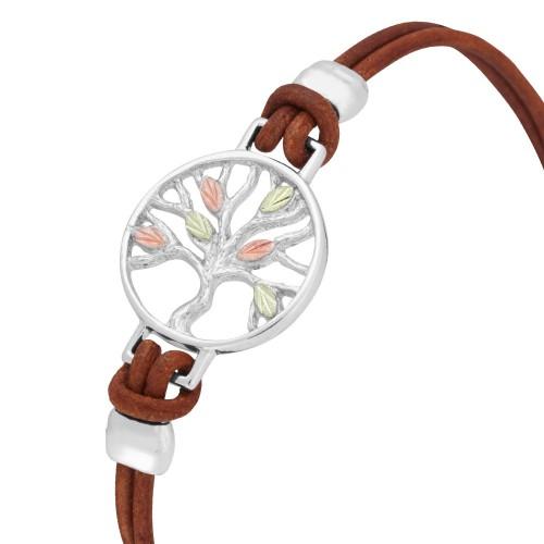 Black Hills Silver Brown Leather Tree Bracelet