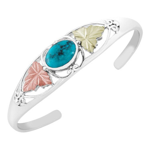 Black Hills Silver Natural Oval Turquoise Bangle ...