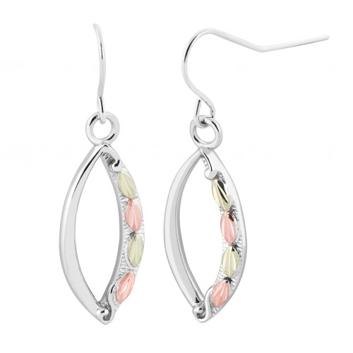 Sterling Silver Oval Shaped Dangling Earrings with...