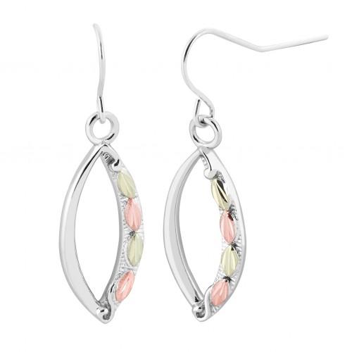 Sterling Silver Oval Black Hills Dangle Earrings w...