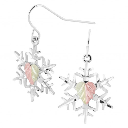 Black Hills Gold on Silver Snowflake Drop Earrings