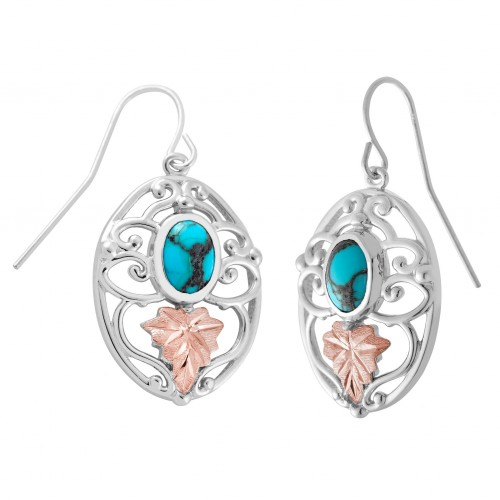 Black Hills Silver Natural Oval Turquoise Earrings