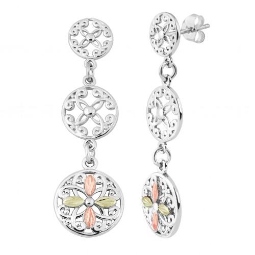 Black Hills Gold on Silver Circles Dangle Earrings