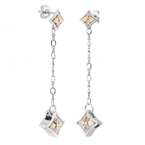 Black Hills Silver Double Diamond Drop Earrings