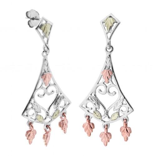 Black Hills Gold on Silver Chandelier Earrings