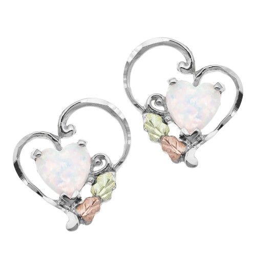 Landstroms Silver Opal Heart Earrings