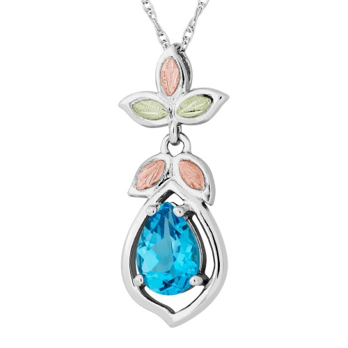 Genuine Blue Topaz Black Hills Gold on Silver Pendant Necklace