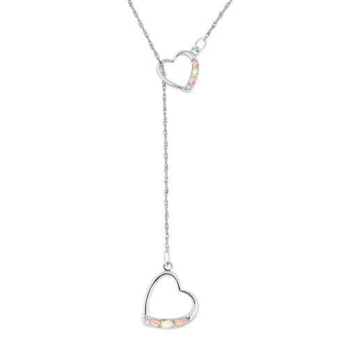 Black Hills Goll on Silver Double Heart Lariat Nec...