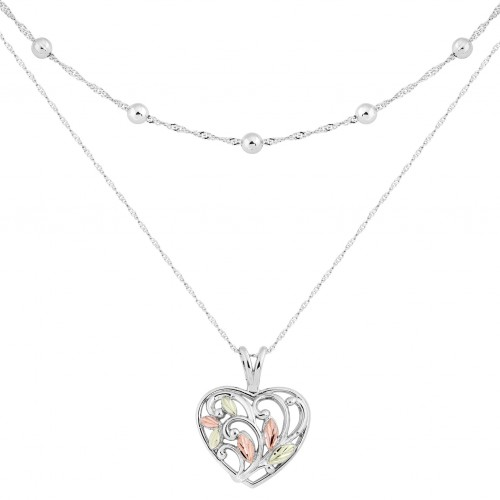 Black Hills Gold on Silver Double Layered Heart Ne...