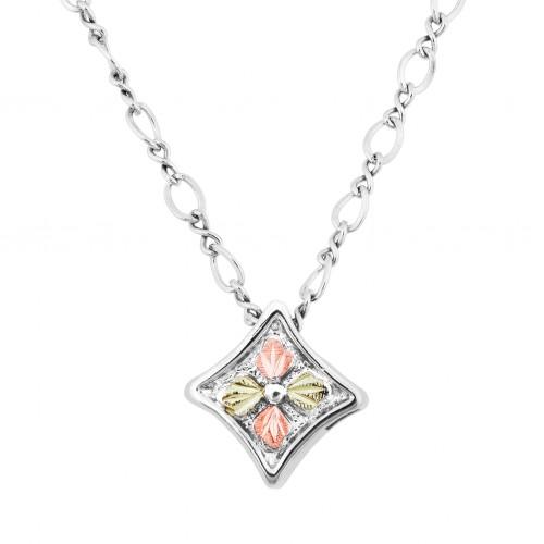 Black Hills Gold on Silver Diamond Shaped Pendant