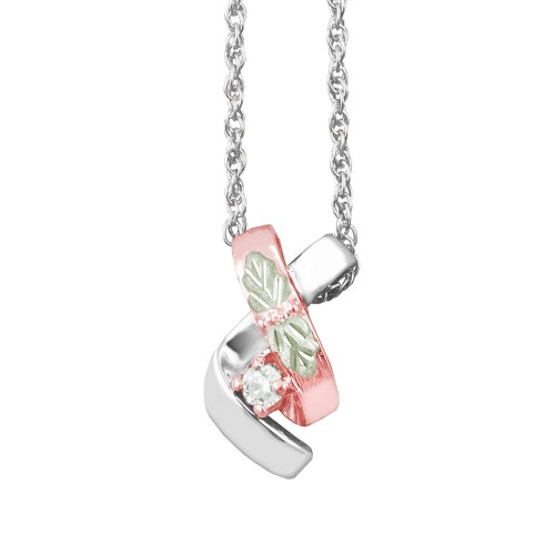 Rose Gold Black Hills Silver Pendant with White CZ
