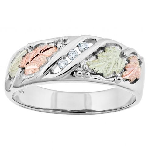 Men's Black Hills Gold Three Stone Diamond Wedding...