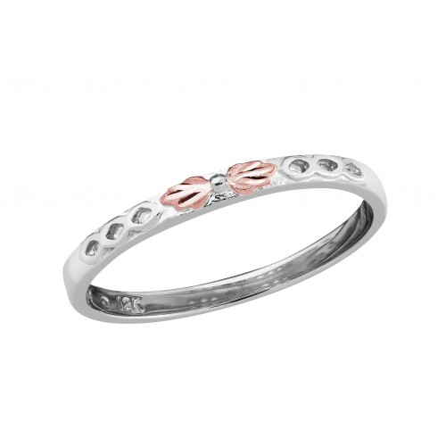 10k Black Hills Gold Stackable Ring in White Gold ...