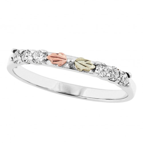 Black Hills White Gold Stackable Women's Ring with...