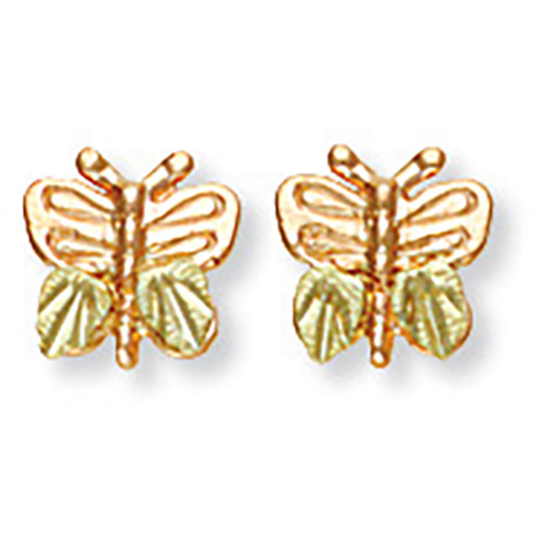 Black Hills Gold 10k Butterfly Earrings