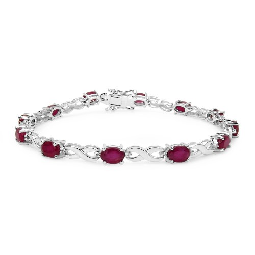 Oval 6 X 4 MM Synthetic Ruby Sterling Silver Ruby ...