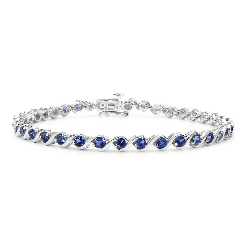 2.5 MM AA Grade Tanzanite Bracelet in Sterling Sil...