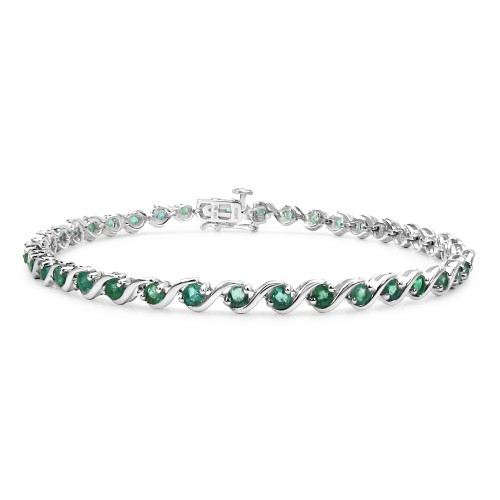 2.5 MM AA Grade Zambian Emeralds Sterling Silver B...