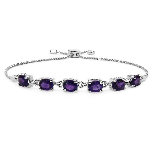 5 X 4 MM Oval African Amethysts Sterling Silver Br...