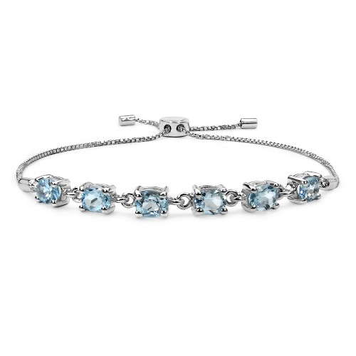 5 X 4 MM Blue Topaz Sterling Silver Bracelet