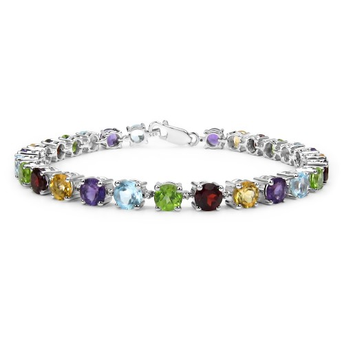 Multi Birthstone Tennis Bracelet in 925 Sterling S...