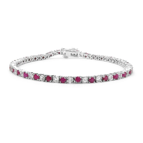 Bangkok Ruby and White Topaz Bracelet in Sterling ...