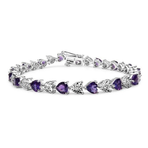 Amethyst and White Diamond Heart Tennis Bracelet i...