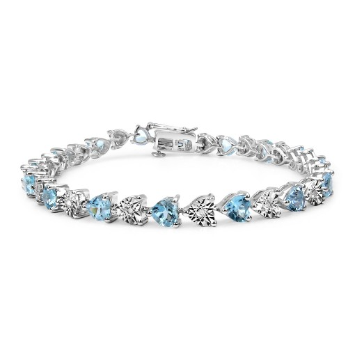 Heart Blue Topaz and White Diamond Tennis Bracelet...