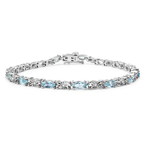Blue Topaz and White Diamond Sterling Silver Tenni...