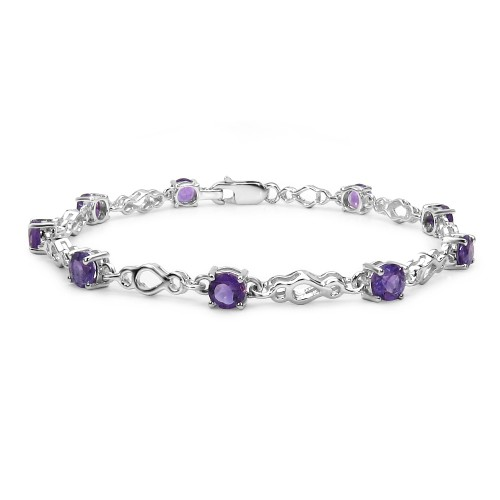 5 MM Round Amethyst Link Bracelet in Sterling Silv...