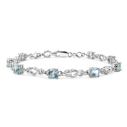 5 MM Round Blue Topaz Link Bracelet in Sterling S...