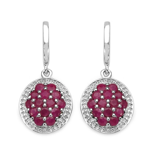 925 Sterling Silver Natural Ruby Earrings