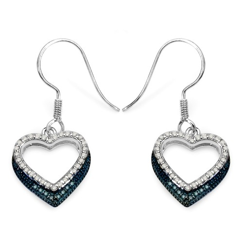 Blue Diamond and White Diamond Heart Shaped Earrin...