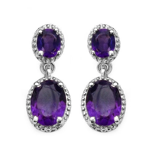 Oval African Amethyst Earrings in 925 Sterling Sil...