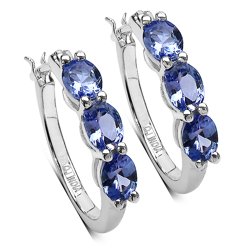 Lavender Tanzanite Hoop Silver Earrings with Round...