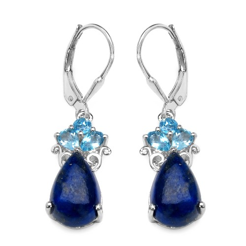 Lapis Cabachon and Swiss Blue Topaz Earrings in St...