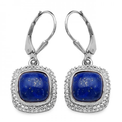9 MM Blue Lapis Cabachon Sterling Silver Dangle Ea...